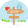 Pointer 2012 with christmas hat and bird — Vector de stock #7773265