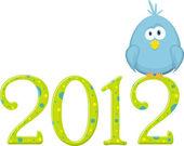 Blauwe vogel op de cijfers 2012, vectorillustratie — Stockvector