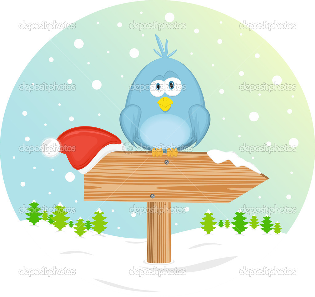 Blue bird and christmas hat on the waymark. Vector Illustration. — Stock Vector #7773260