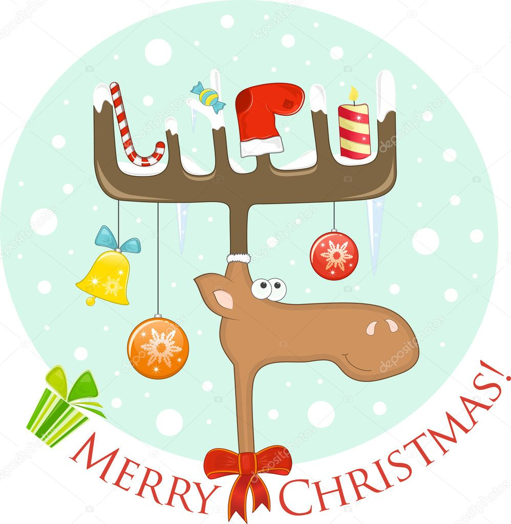 Funny Elk wth Christmas decoration on the antlers (postcard).  Vector Illustration. — Stock Vector #7791114