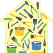 House tools (icons), vector illustration - Stok Vektör