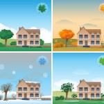 Four seasons background — Stock Vector