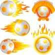 Fire soccer ball emblem — Stock Vector
