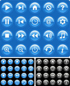 Glossy media icons collection — Stock Vector