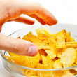 Grabbing chips — Stock Photo