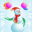Vector Christmas card snowman — Stock Photo