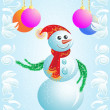Stock Photo: Vector Christmas card snowman