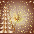 Vector illustration:  Christmas gold tree — Stock Vector