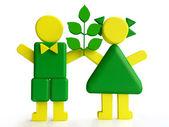 Bambini con impianto, concetto ecologico — Foto Stock