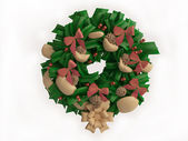 Christmas Wreath Isolated on White Background — Photo