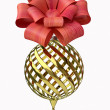 Christmas-tree decoration with Red Ribbon — Stock Photo