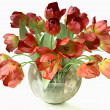 Bouquet of Red Tulips in Cristal Vase — Stock Photo