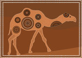Illustration based on aboriginal style of dot painting depicting dromedary — Stock Vector