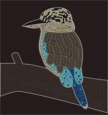 Illustration based on aboriginal style of dot painting depicting kookaburra — Stock Vector