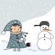 Little girl with snowman — Stock Photo #7440703