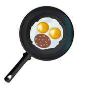 Scrambled eggs in a frying pan for your desgn. Vectorllstration — Stock Vector