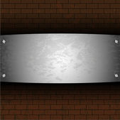 Vector steel plate on brick for your design — Stock Vector