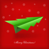 Concept of the Christmas tree and origami airplane. Vector illustration — Stock Vector
