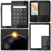Vector computer tablet e smartphone impostato per il vostro disegno. scelta migliore — Vettoriale Stock