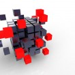 Red cube together — Stock Photo