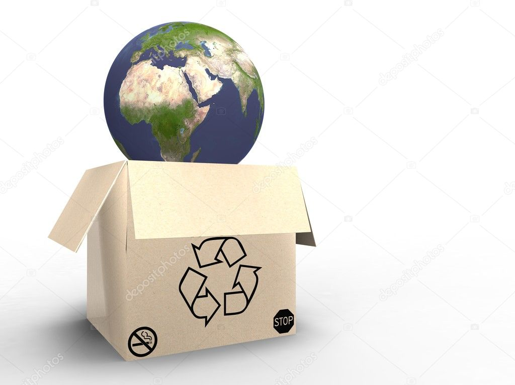 3d illustration of planet earth in cardboard, protected — Stock Photo #6855325