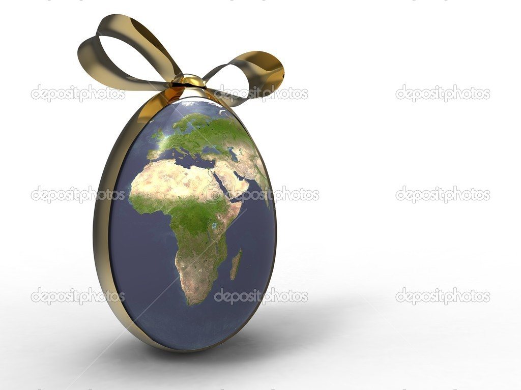 3d illustration of the earth egg shape with a golden ribbon  Stock Photo #6855368