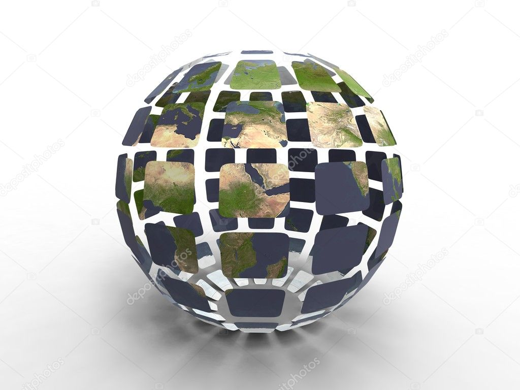3d illustration of planet earth construct with facet on white background  Stock Photo #6855438