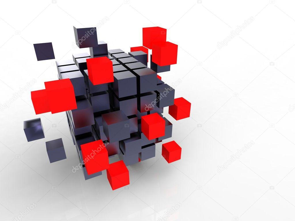 3d illustration of a lot of metallic black and red cubes  — Stock Photo #6855518