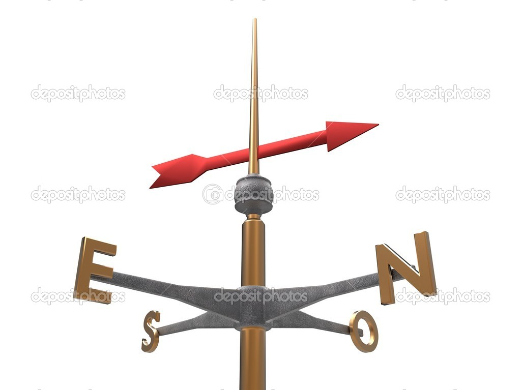 3d illustration of a golden windvane and red arrow on white background  Stock Photo #6855559