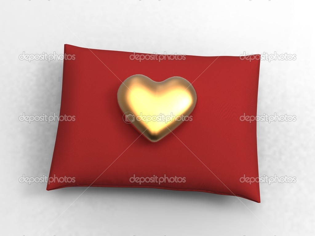 3d illustration of a velvety cushion and heart on white background — Stock Photo #6856513
