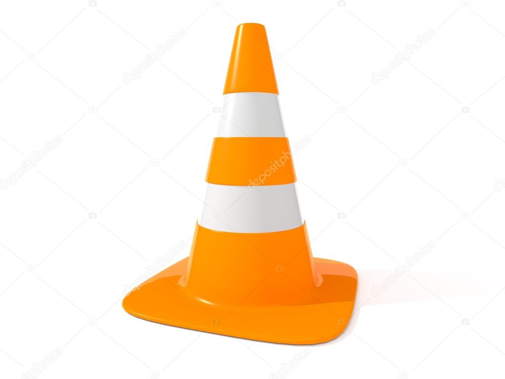 Orange traffic cone with reflective stripes of road traffic — Stock Photo #6856715