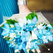 Beautiful azure wedding flowers bouquet - Stock Photo