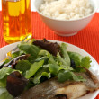 Fried flounder with rice — Stock Photo
