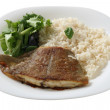 Fried flounder with boiled rice — Stock Photo