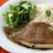 Stock Photo: Fried flounder with boiled rice
