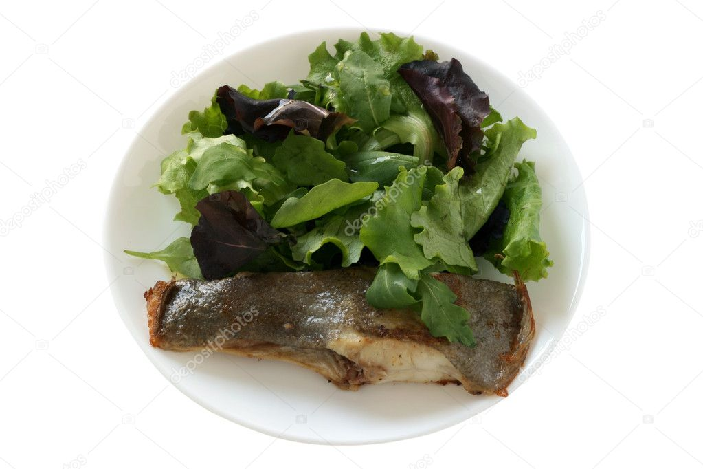 Fried flounder with salad  Stock Photo #6887630