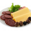 Stock Photo: Sausages with cheese and olives