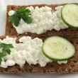 Toasts with cottage cheese — Stockfoto