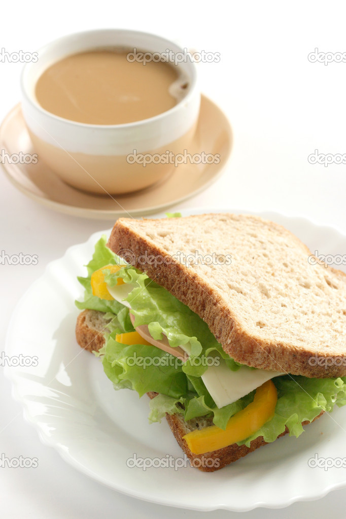 Sandwich with cup of coffee — Stock Photo #7279897