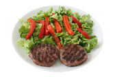Grilled hamburgers with salad — ストック写真