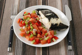 Boiled fish with salad — Stock Photo