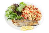 Fried swordfish with rice — Stock Photo