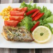 Swordfish with salad — Stock Photo