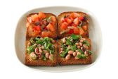 Toasts with tomato and beans — Stock Photo