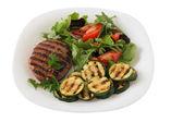 Grilled turkey hamburger with salad — Stock Photo