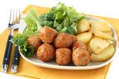 Chicken meatballs with potato — Stock Photo