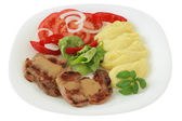 Fried pork with mashed potato — Stock Photo