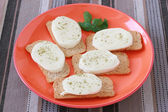 Toasts with cheese mozzarella — Stock Photo
