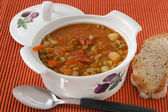 Pea soup in pot — Stock Photo