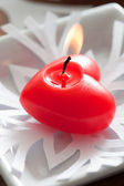 Red heart candle — Stock Photo